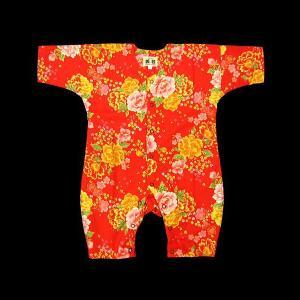 送料無料 金彩牡丹桜(赤)0号サイズ(80) お祭りロンパース 義若オリジナル matsuriya-sonami
