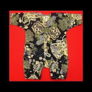 送料無料 金彩牡丹と桜(黒カーキ)0号サイズ(80) お祭りロンパース 義若オリジナル matsuriya-sonami