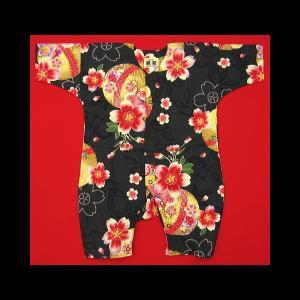 送料無料 まりと桜(黒)0号サイズ(80) お祭りロンパース 義若オリジナル matsuriya-sonami