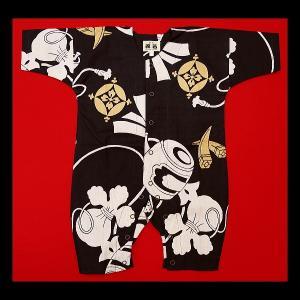 送料無料 宝尽くし・小槌(こげ茶)0号サイズ(80) お祭りロンパース 義若オリジナル matsuriya-sonami