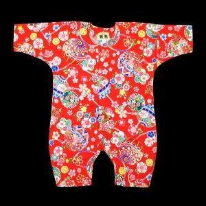 送料無料 まりに花尽くし(赤)0号サイズ(80) お祭りロンパース 義若オリジナル matsuriya-sonami