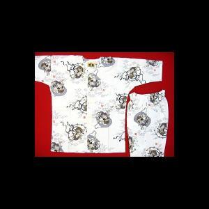 【激安】風神雷神(白)子供鯉口シャツ上下組 男女兼用 義若オリジナルセール品 ※