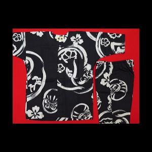 激安 大だるまと家紋(黒)4号サイズ(120)子供鯉口シャツ上下組 男女兼用 義若オリジナルセール品