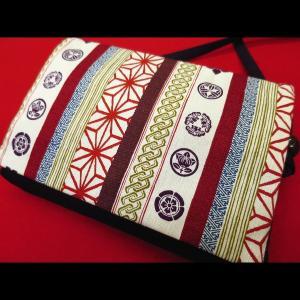 吉原家紋麻の葉縞 (エンジ) 和柄お祭り万能ポシェットショルダー|matsuriya-sonami