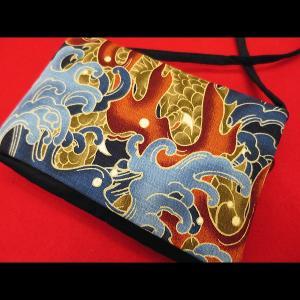 荒波に龍B (紺) 和柄お祭り万能ポシェットショルダー|matsuriya-sonami