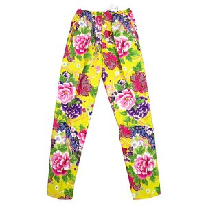 送料無料 金彩牡丹と桜(黄色)股引き型ズボン|matsuriya-sonami