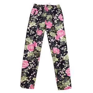 送料無料 金彩唐獅子牡丹と桜吹雪(黒ピンク)巾広サイズ(3L)股引き型ズボン|matsuriya-sonami
