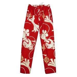 送料無料 宝尽くし・小槌(赤)股引き型ズボン|matsuriya-sonami