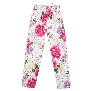 送料無料 金彩桜吹雪に大牡丹(白ピンク紫)特大サイズ(LL) 股引き型ズボン|matsuriya-sonami