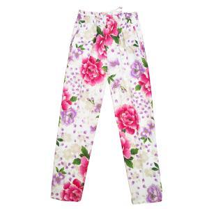 送料無料 金彩桜吹雪に大牡丹(白ピンク紫)巾広サイズ(3L) 股引き型ズボン|matsuriya-sonami