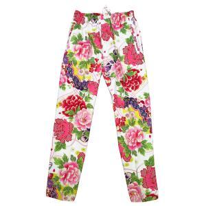 送料無料 金彩牡丹と桜(赤白)特大サイズ(LL)股引き型ズボン|matsuriya-sonami