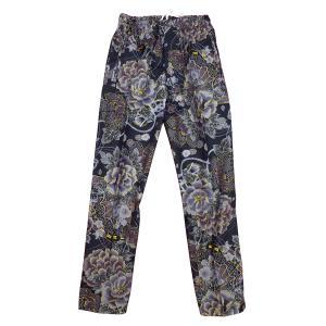 送料無料 金彩牡丹と桜(藍黒)特大サイズ(LL)股引き型ズボン|matsuriya-sonami