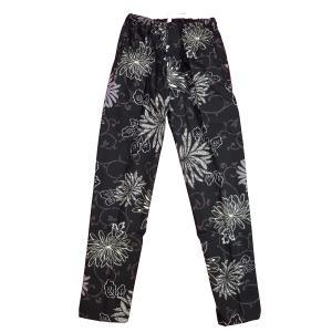 送料無料 乱菊と唐草(黒)巾広サイズ(3L) 股引き型ズボン|matsuriya-sonami