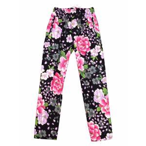 送料無料 金彩桜吹雪に大牡丹(黒ピンク)股引き型ズボン|matsuriya-sonami