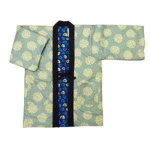 アンティーク和柄綿入れ半纏リバーシブル(花尽くし・黒) フリーサイズ|matsuriya-sonami