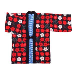 アンティーク和柄綿入れ半纏リバーシブル(乱菊 茶) フリーサイズ|matsuriya-sonami