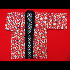 送料無料 アンティーク和柄綿入れ半纏リバーシブル(乱菊 赤) フリーサイズ|matsuriya-sonami
