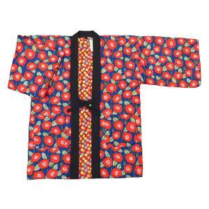 送料無料 アンティーク和柄綿入れ半纏リバーシブル(梅と動物 赤黒) フリーサイズ|matsuriya-sonami
