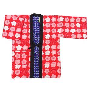 送料無料 アンティーク和柄綿入れ半纏リバーシブル(花扇とまり 黒) フリーサイズ|matsuriya-sonami