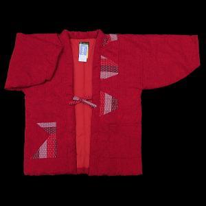 送料無料 本場久留米綿入れ半纏パッチワーク(赤) 女性用フリーサイズ 日本製|matsuriya-sonami