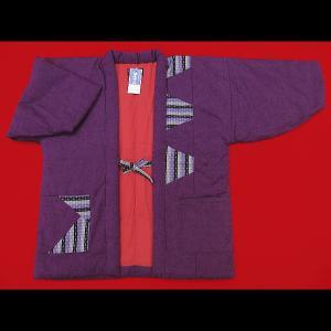 本場久留米綿入れ半纏パッチワーク(紫) 女性用フリーサイズ 日本製|matsuriya-sonami