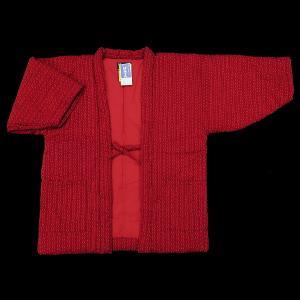 送料無料 本場久留米綿入れ半纏和モダンあられ刺子(赤) 女性用フリーサイズ 日本製|matsuriya-sonami