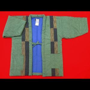 本場久留米綿入れ半纏パッチワーク(抹茶緑) 男性用フリーサイズ 日本製|matsuriya-sonami