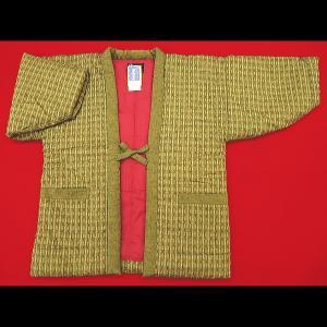 送料無料 本場久留米綿入れ半纏矢絣(カラシ) 女性用フリーサイズ 日本製|matsuriya-sonami