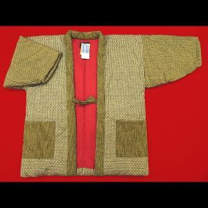 送料無料 本場久留米綿入れ半纏格子絣(カラシ) 女性用フリーサイズ 日本製|matsuriya-sonami