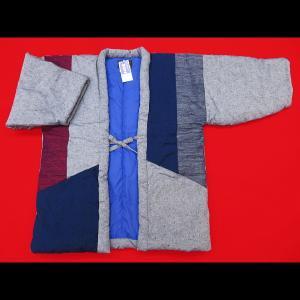 送料無料 本場久留米綿入れ半纏切りばめ-B(グレー) 男性用フリーサイズ 日本製|matsuriya-sonami