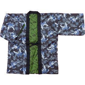 アンティーク和柄綿入れ半纏リバーシブル(雲どり疋田に鶴 紺) 男性用フリーサイズ|matsuriya-sonami