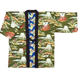 アンティーク和柄綿入れ半纏リバーシブル(麻の葉市松 エンジ) 男性用フリーサイズ|matsuriya-sonami