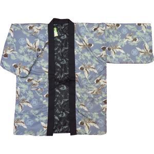 アンティーク和柄綿入れ半纏リバーシブル(雲どり疋田に鶴 黒) 男性用フリーサイズ|matsuriya-sonami