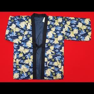 アンティーク和柄綿入れ半纏リバーシブル(唐獅子と雲 紺) 男性用フリーサイズ|matsuriya-sonami