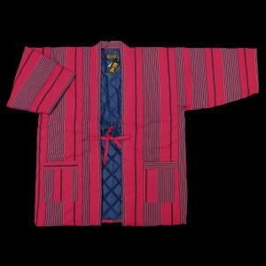 民芸調・縞柄はんてん(キルティング裏) 太縞 赤系 フリーサイズ|matsuriya-sonami