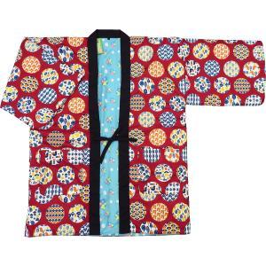 アンティーク和柄!綿入れ半纏リバーシブル(縞に牡丹菊 渋オレンジ系) フリーサイズ|matsuriya-sonami