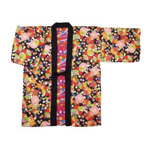 アンティーク和柄!綿入れ半纏リバーシブル(レトロ菊尽くし 黒) フリーサイズ|matsuriya-sonami