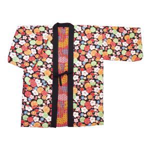 アンティーク和柄!綿入れ半纏リバーシブル(花あられ 黒) フリーサイズ|matsuriya-sonami