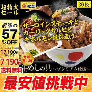 牛丼 牛丼の具 50%OFF&ステーキ+ガーリックカルビ+ホルモン焼おまけ 松屋 牛めしの具(プレミ...
