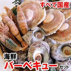 (送料無料)ホタテ(片貝)・サザエ・モサエビの3種海鮮バーベキューセット(冷凍)|matubagani
