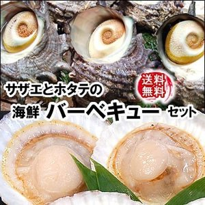 (送料無料)ホタテとサザエの海鮮バーベキューセット大人数用(冷凍)各25個入|matubagani