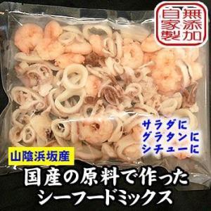 完全国産エビとイカのシーフードミックス(冷凍)5袋 国産(山陰浜坂産)加熱済のため、解凍後そのまま使えます。チャック付袋入(添加物未使用・無添加)|matubagani