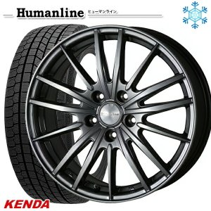 225/45R18インチ ケンダ KENDA KR36 5H114 ヒューマンライン HS06 スタッドレスタイヤホイール4本セット|mauto