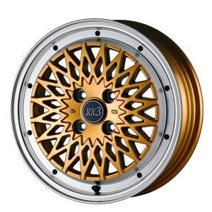 サマータイヤホイールセット 165/50R15インチ 4H100 アルジェノン フェニーチェ RX3 ゴールドリムポリッシュ ケンダ KR23A|mauto