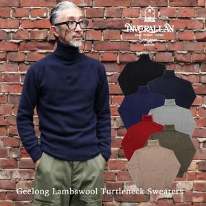INVERALLAN インバーアラン ニット セーター メンズ コットン タートルネック セーター
