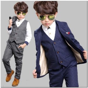 ベビー キッズ 子供服 男の子  セレモニー 韓国子供服 チェック織スーツ3点セット