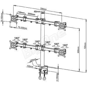 液晶モニターアーム 4モニター ディスプレイスタンド 4画面 16軸式モデル 13〜27インチ対応 スタンド PCモニターアーム 高剛性|max-advancer|02