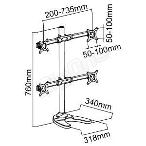 液晶モニタースタンド 4モニター用 ディスプレイスタンド 4面 スライド式フレキシブルモデル 13〜27インチ対応 モニターアーム PCモニターアーム 高剛性|max-advancer|02
