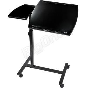 テーブル ノートPCテーブル ノートパソコン 分割2面式 キャスター付き ブラック 黒 BLACK 高さ5段階調整 角度調整 サイドテーブル ノートパソコンテーブル|max-advancer