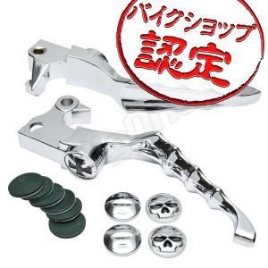 ビレット レバー セット スカルタイプ メッキ XL883 XL883C XL883L XL883R XL1200C XL1200R XL1200L XR1200 スポーツスター883 バイク ブレーキ クラッチ|max-advancer